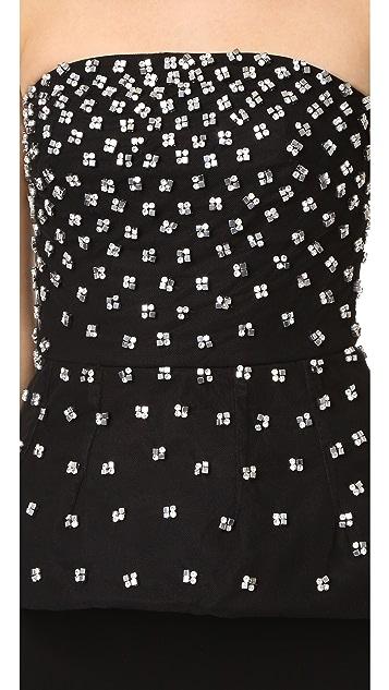 Monique Lhuillier Strapless Peplum Column Gown