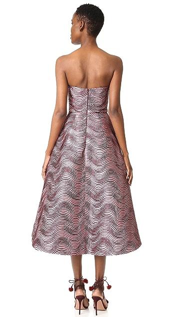Monique Lhuillier Strapless Midi Dress