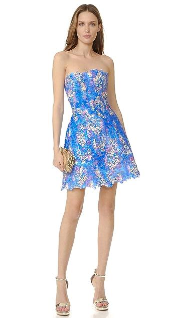 Monique Lhuillier Lace Strapless Dress