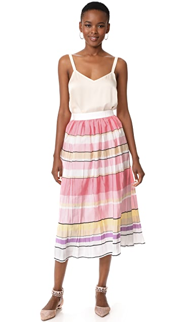 Monique Lhuillier Stripe Midi Skirt