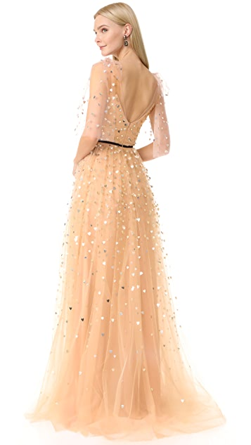 Monique Lhuillier V Neck Tulle Gown
