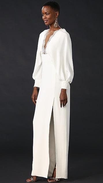 Monique Lhuillier Long Sleeve Gown