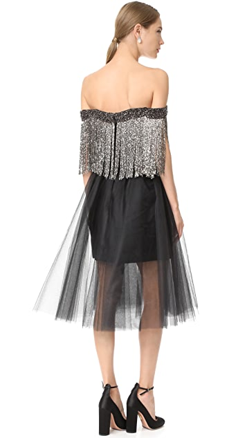 Monique Lhuillier Off the Shoulder Fringe Dress