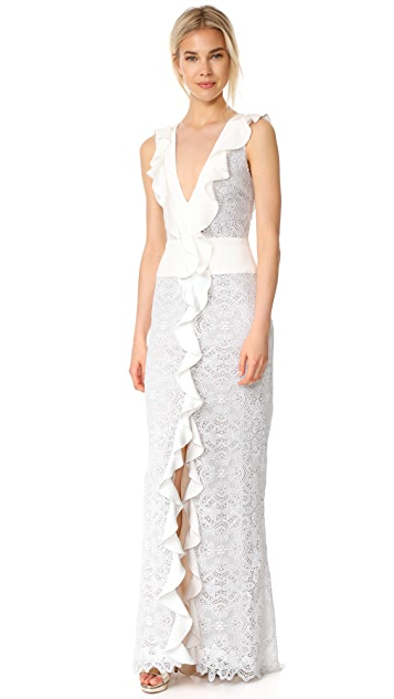 Monique Lhuillier Sleeveless Ruffle V Neck Gown