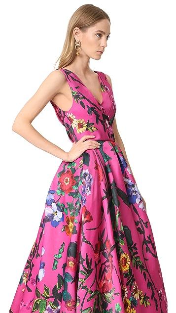 Monique Lhuillier Sleeveless V Neck Ball Gown