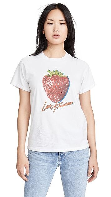 交织字母 水钻装饰草莓 T 恤