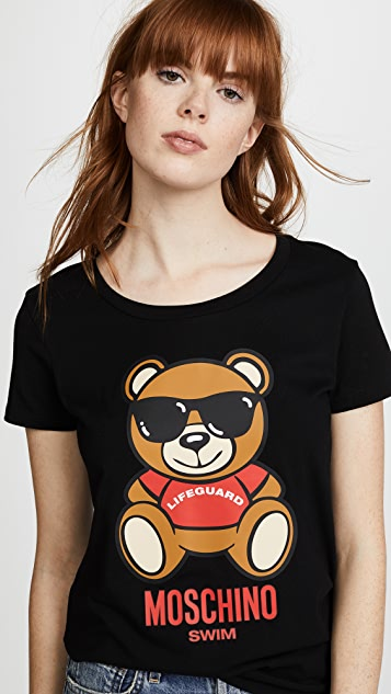 Moschino Bear with Glasses Graphic Tee