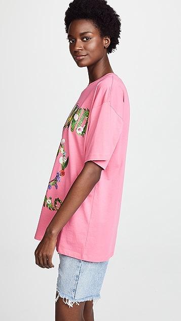 Moschino Moschino Oversize Floral Logo Tee