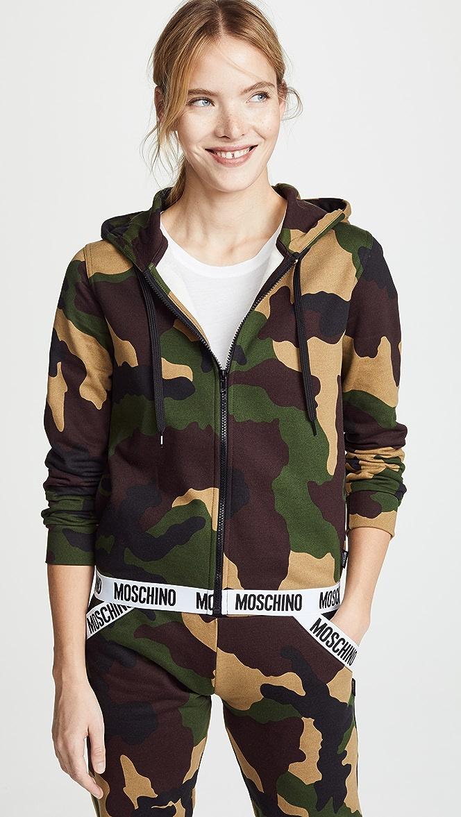 Moschino Underwear Camouflage Print Hoody