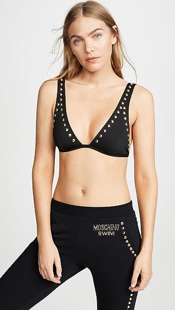 Moschino 带铆钉装饰的比基尼上装