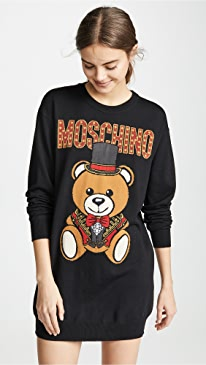 Top Hat Bear Sweatshirt Dress
