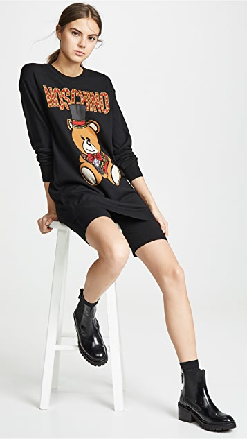 Moschino Top Hat Bear Sweatshirt Dress