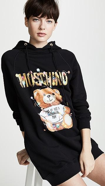 Moschino Christmas Lights Bear Hoodie Dress