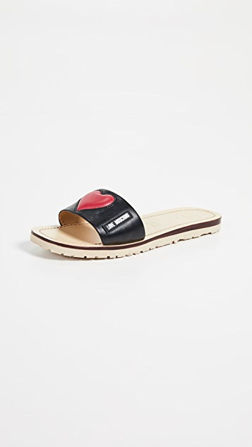 Moschino Padded Heart Slides