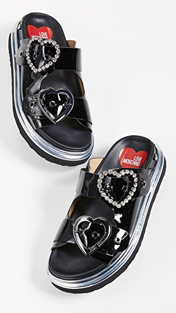 Moschino Heart Strass Buckle Slides