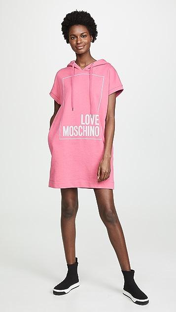 Moschino Свободное платье-толстовка с капюшоном Love Moschino