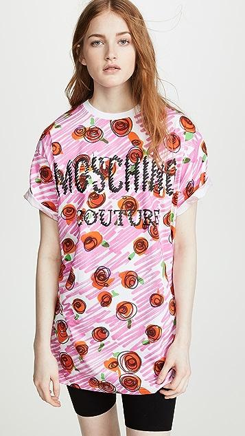 Moschino Scribble Rose Logo T-Shirt Dress