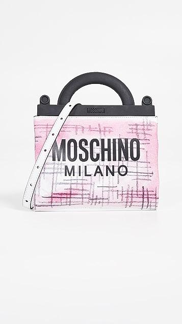 Moschino Сумка из твида New Shopping с рисунком в виде мазков кисти