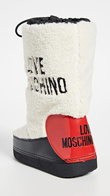 Moschino Зимние сапоги с отделкой из короткой шерсти