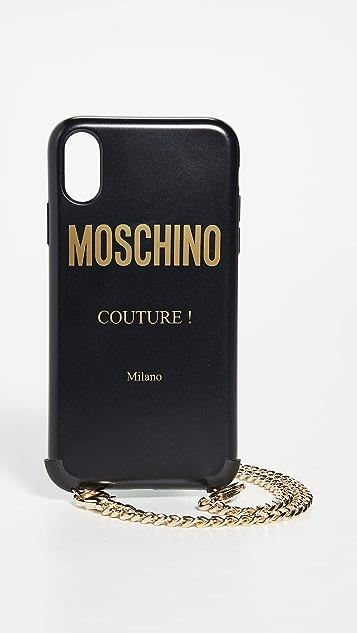 Moschino 迷彩印花 iPhone X/XS 链条手机壳