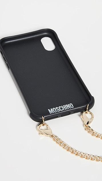 Moschino 迷彩印花 iPhone XR 链条手机壳