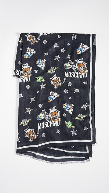 Moschino 太空熊印花围巾