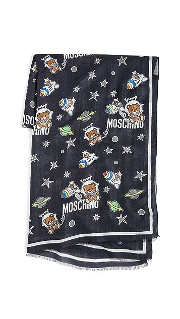 Moschino Space Bear Print Scarf