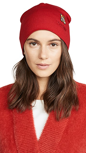 Moschino Red Bear Patch Beanie