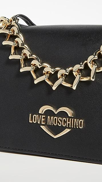 Moschino 心形链条肩背包