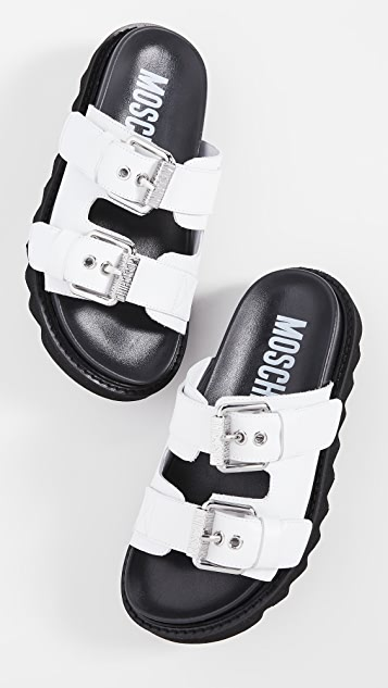 Moschino Slide Double Buckle Sandals