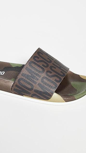 Moschino 穆勒鞋徽标凉拖鞋