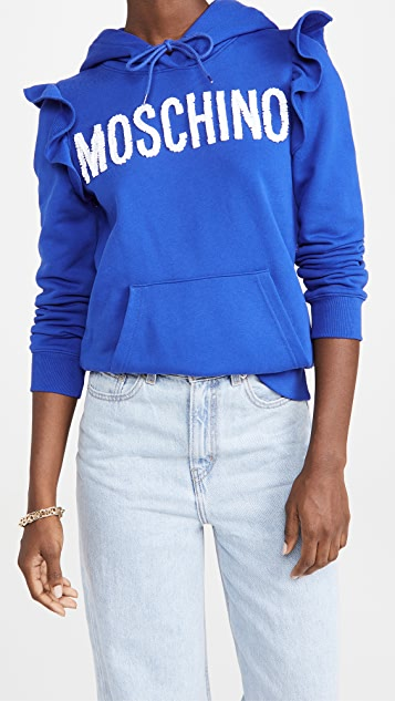 Moschino Logo Ruffle Hoodie