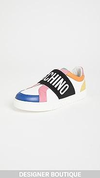 모스키노 Moschino Logo Sneakers,Bianco+Multi