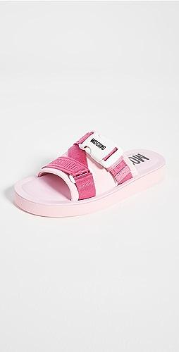 Moschino - 缎带凉拖鞋