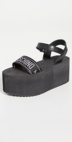 Moschino - 缎带厚底凉鞋
