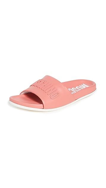 Moschino 皮泳池凉拖鞋