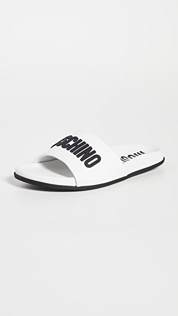 Moschino Leather Pool Slides