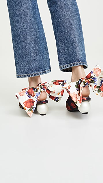Mother of Pearl Bow Slingback Heels