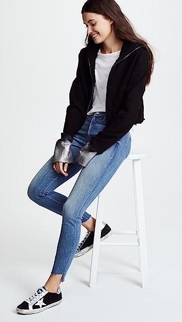 MOTHER Потрепанные джинсы до щиколотки с молниями The Stunner