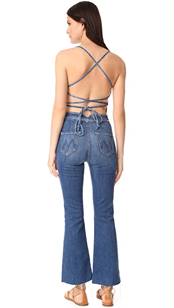 MOTHER The Tie Back Fray Jumpsuit