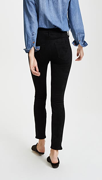 MOTHER Faux Suede High Waisted Looker Jeans