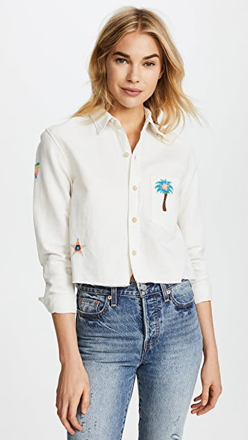 MOTHER The Long Sleeve Shirt with Embroidery