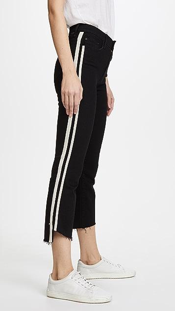 MOTHER Укороченные потрепанные джинсы Insider с неровным краем
