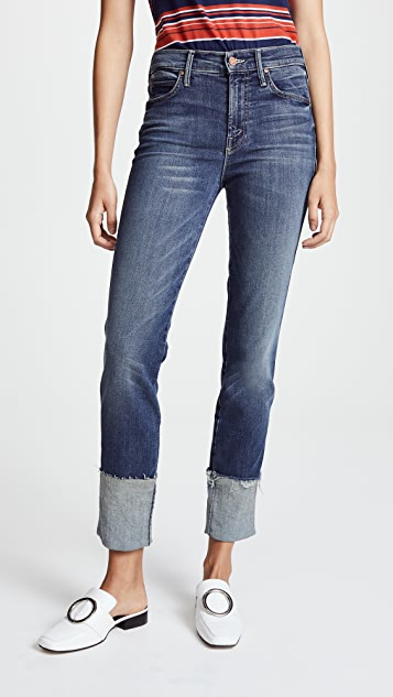 MOTHER The Pony Boy Jeans with Ankle Fraying - Bake Sale Brawl