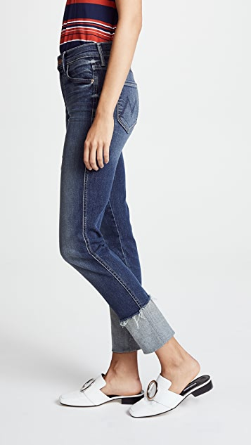 MOTHER The Pony Boy Jeans with Ankle Fraying