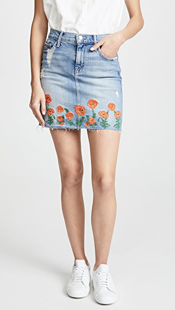 MOTHER High Waisted Straight A Mini Fray Skirt