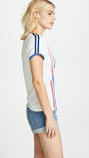 MOTHER Itty Bitty Varsity Ringer Pocket Tee