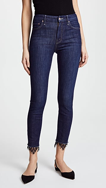 MOTHER The High Waisted Looker Dagger Ankle Fray Jeans