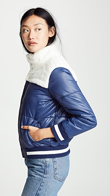 MOTHER The Puff-Fur Snap Jacket
