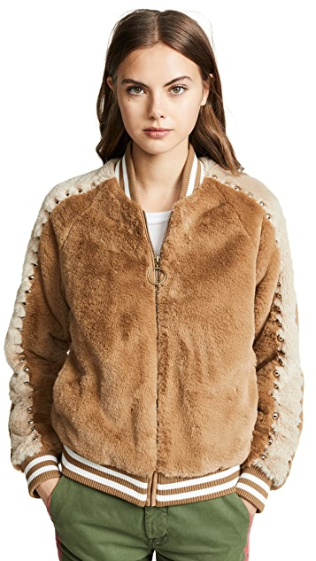MOTHER The Letterman Faux Fur Jacket